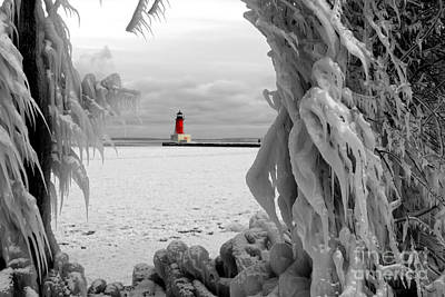 Photograph - Frozen In Time - Menominee North Pier Lighthouse by Mark J Seefeldt