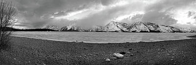 Photograph - Frozen Jackson Lake, Grand Tetons Pan by Jeff Brunton