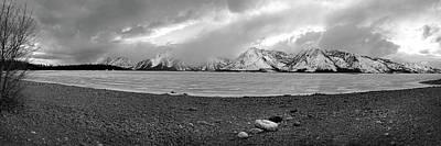 Photograph - Frozen Jackson Lake, Grand Tetons Pan by Jeff Brunton