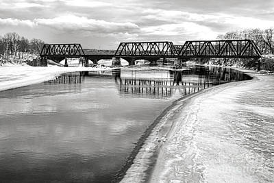 Railroad Bridge Photograph - Frozen Kennebec River And Railroad Bridge In Waterville by Olivier Le Queinec