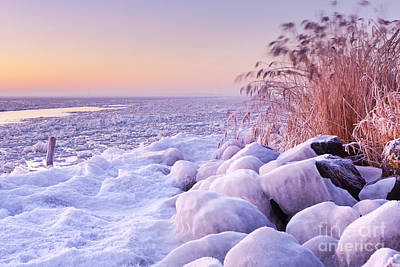 Markermeer Photograph - Frozen Lake Markermeer, The Netherlands At Sunrise by Sara Winter
