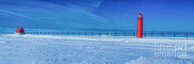 Photograph - Frozen Lake Michgan At Grand Haven by Nick Zelinsky