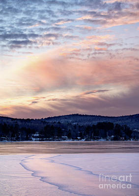 Photograph - Frozen Lake Sunset In Wilton Maine  -78096-78097 by John Bald