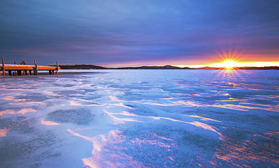 Photograph - Frozen Lake Winnipesaukee Sunrise by Robert Clifford