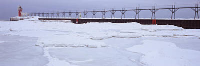 Frozen Lake With A Lighthouse Art Print by Panoramic Images