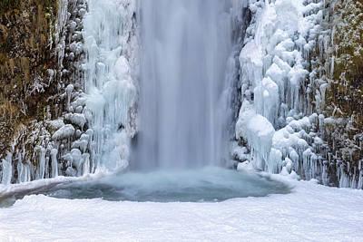 Frozen Multnomah Falls Closeup Art Print by David Gn