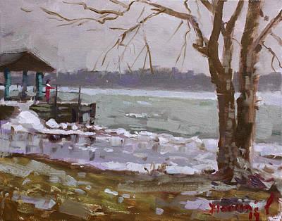 Winds Painting - Frozen Niagara River by Ylli Haruni