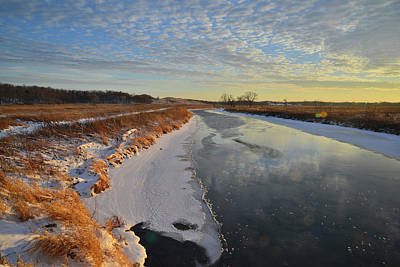 Photograph - Frozen Nippersink Creek At Sunset In Glacial Park by Ray Mathis