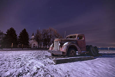 Photograph - Frozen Old Truck And Church  by Aaron J Groen