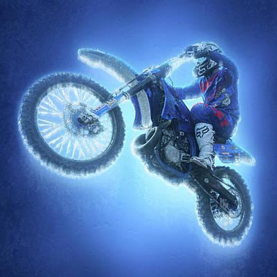 Freestyle Motocross Frozen Racer Art Print by Sergey Yurchenko