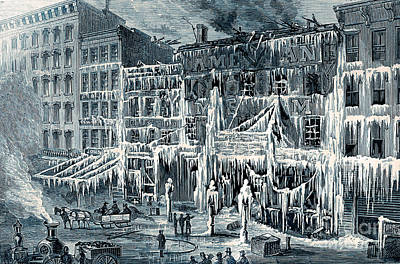 Frozen Remains Of Barnums Museum, 1868 Art Print by Science Source