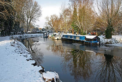 Photograph - Houseboats In Winter by Gill Billington