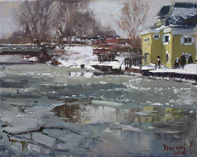 Winter Trees Painting - Frozen Cayuga Creek by Ylli Haruni