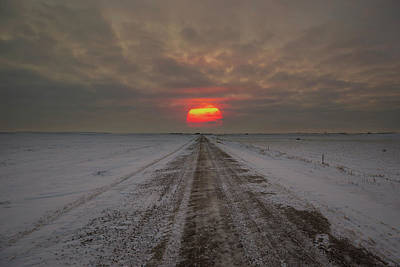 Photograph - Frozen Road Sunset  by Aaron J Groen