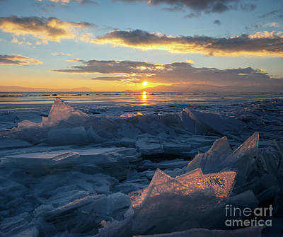 Photograph - Frozen Sevan Lake And Icicles At Sunset, Armenia by Gurgen Bakhshetsyan