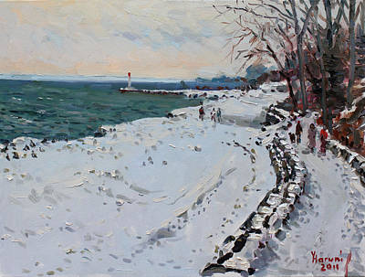 Freeze Painting - Frozen Shore In Oakville On by Ylli Haruni