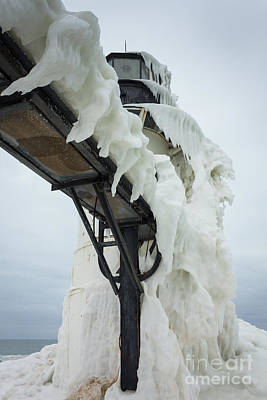 Photograph - Frozen St. Joseph Outer Lighthouse by Kimberly Kotzian