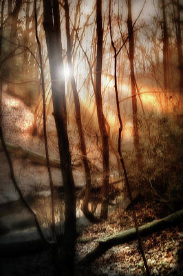 Sun Rays Mixed Media - Frozen Stream by Mark Hunter