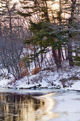 Photograph - Frozen Sunset, Androscoggin River, Brunswick, Maine -28967-28968 by John Bald