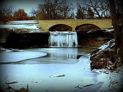 Digital Art - Frozen Tryst Falls, Mo  by Wesley Nesbitt