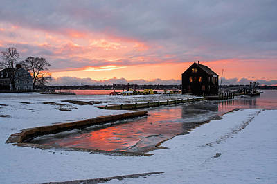 Photograph - Frozen Water On The Salem Waterfront Derby Wharf Salem Ma Sunrise by Toby McGuire