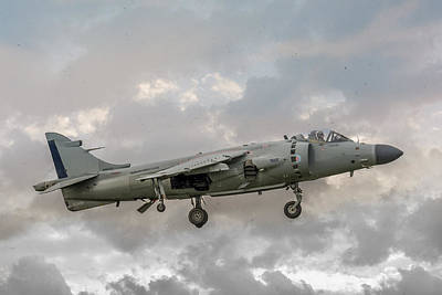 Photograph - Frs1 Sea Harrier On Vertical Approach by Guy Whiteley