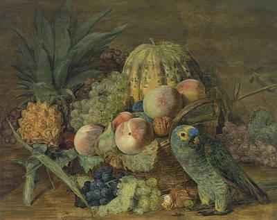 Painting - Fruchtestillleben Mit Einem Amazonenpapagei by Ferdinand Georg Waldmuller