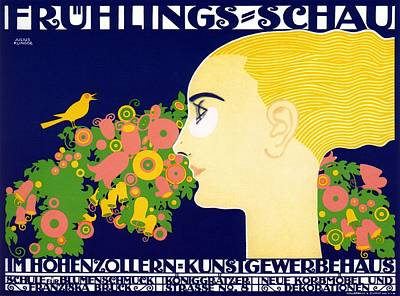 Mixed Media - Fruhlings Schau - Spring Show - Arts And Crafts Fair - Vintage German Exposition Poster by Studio Grafiikka