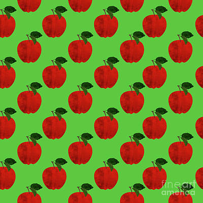 Apples Digital Art - Fruit 02_apple_pattern by Bobbi Freelance