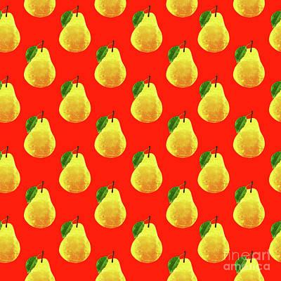 Food And Beverage Digital Art - Fruit 03_Pear_Pattern by Bobbi Freelance