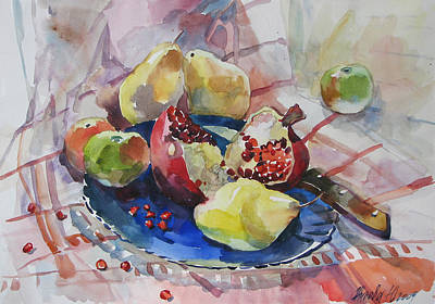 Painting - Fruit And A Pomegranate by Juliya Zhukova