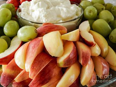 Plate Of Grapes Digital Art - Fruit And Cream Celebration by Brenda Landdeck