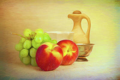 Fruit And Dishware Still Life Art Print