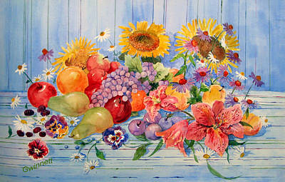 Painting - Fruit And Flowers by Kathleen  Gwinnett