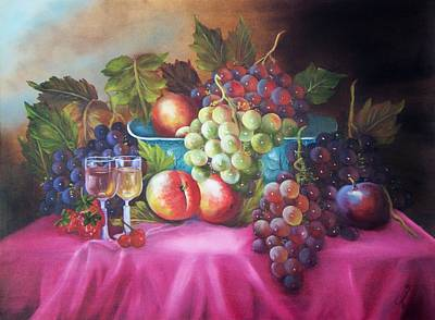 Painting - Fruit And Wine On Mauve Cloth by Joni McPherson