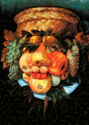 Pear Digital Art - Fruit Basket Of Giuseppe Arcimboldo Revisited - Da by Leonardo Digenio