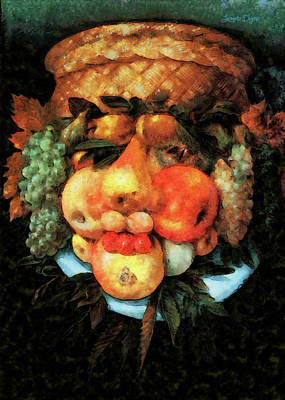 Books Painting - Fruit Basket Of Giuseppe Arcimboldo Revisited by Leonardo Digenio
