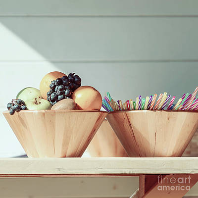 Wooden Bowl Photograph - Fruit Bowl And Colorful Straws On Table by Radu Bercan