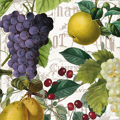 French Script Painting - Fruit Bowl I by Mindy Sommers