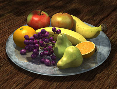 Pear Digital Art - Fruit Bowl by Martin Davey