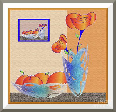 Digital Art - Fruit Bowl With Flowers by Iris Gelbart