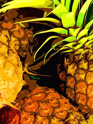 Fruit Digital Art - Fruit Expression Two - Pineapples by Linda Mears