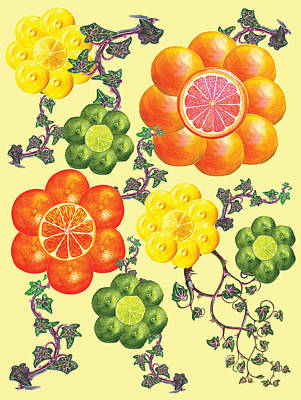 English Ivy Painting - Fruit Flowers by Erin Sparler