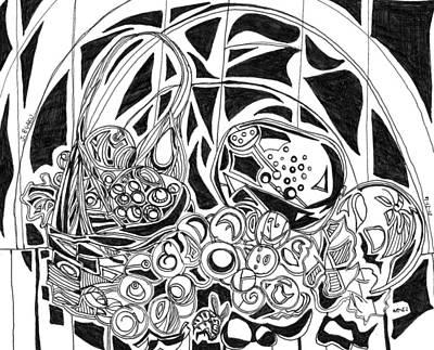 Web Of Life Drawing - Fruit For God by James Egaku