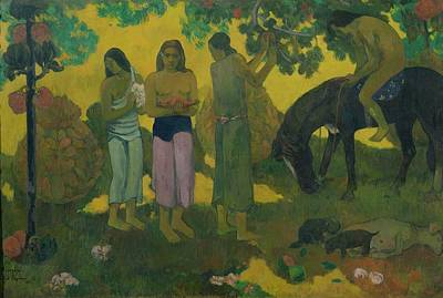 Food And Beverage Painting - Fruit Gathering by Paul Gauguin