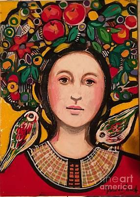 Fruit Hat And Birds Art Print by Marilene Sawaf