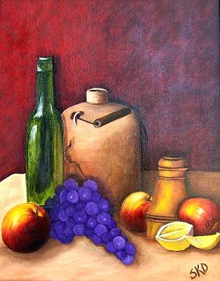 Painting - Fruit Jug And Wine Bottle by Susan Dehlinger
