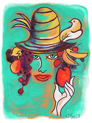 Emerald Green Abstract Painting - Fruit Lady by Gem S Visionary