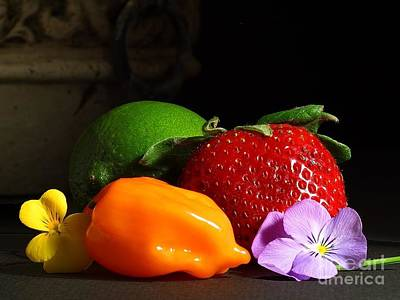 Photograph - Fruit Layout Srawberry Strawberries Limes Peppers by R Muirhead Art