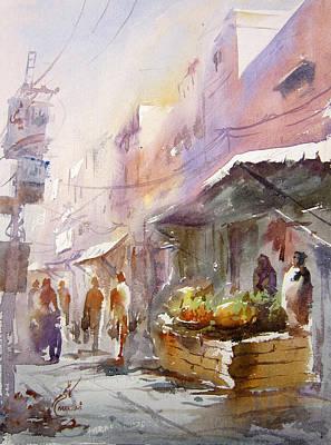 Nca Painting - Fruit Market Lahore by MKazmi Syed